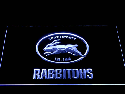 Image of South Sydney Rabbitohs LED Neon Sign - White - SafeSpecial