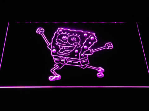 Image of Spongebob Squarepants Ready for Adventure LED Neon Sign - Purple - SafeSpecial