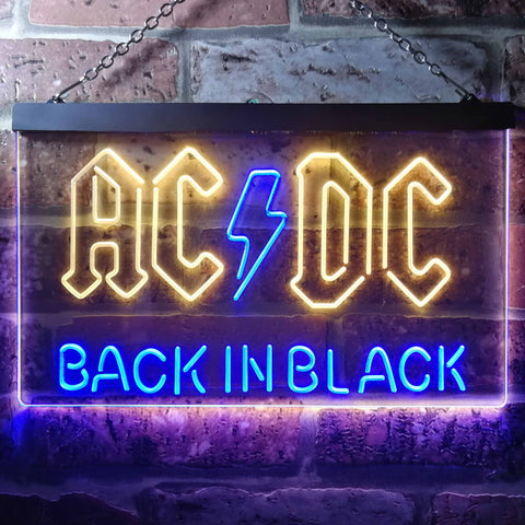AC/DC Back In Black Neon-Like LED Sign - Dual Color