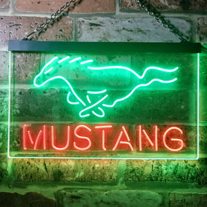 Ford Mustang Horse 2 Neon-Like LED Sign - Dual Color