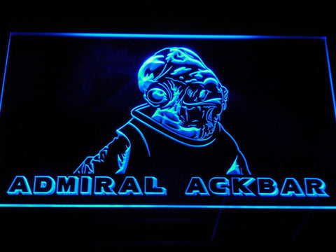 Image of Star Wars Admiral Ackbar LED Neon Sign - Blue - SafeSpecial