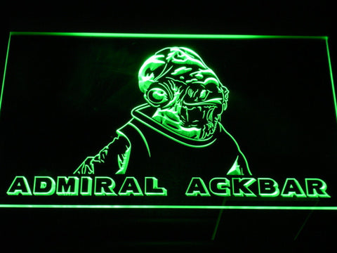 Image of Star Wars Admiral Ackbar LED Neon Sign - Green - SafeSpecial