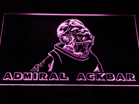 Image of Star Wars Admiral Ackbar LED Neon Sign - Purple - SafeSpecial