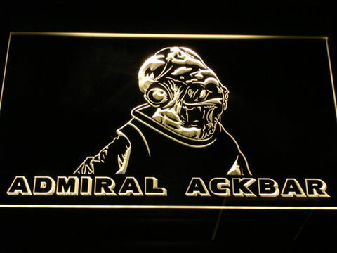 Image of Star Wars Admiral Ackbar LED Neon Sign - Yellow - SafeSpecial