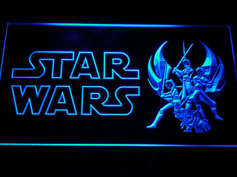 Image of Star Wars Ahsoka, Obi-Wan, Yoda & Anakin LED Neon Sign - Blue - SafeSpecial