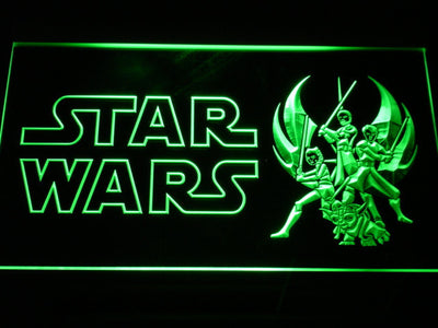 Star Wars Ahsoka, Obi-Wan, Yoda & Anakin LED Neon Sign - Green - SafeSpecial