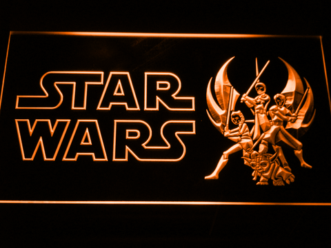 Image of Star Wars Ahsoka, Obi-Wan, Yoda & Anakin LED Neon Sign - Orange - SafeSpecial