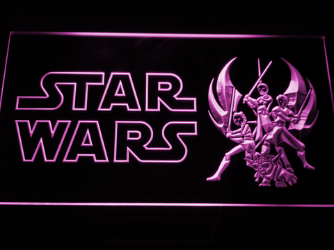 Image of Star Wars Ahsoka, Obi-Wan, Yoda & Anakin LED Neon Sign - Purple - SafeSpecial