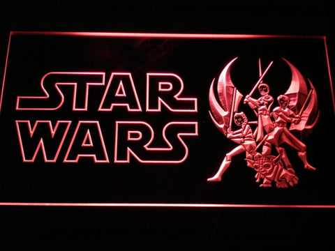 Image of Star Wars Ahsoka, Obi-Wan, Yoda & Anakin LED Neon Sign - Red - SafeSpecial