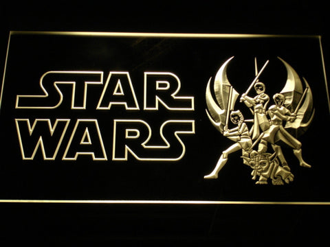 Image of Star Wars Ahsoka, Obi-Wan, Yoda & Anakin LED Neon Sign - Yellow - SafeSpecial