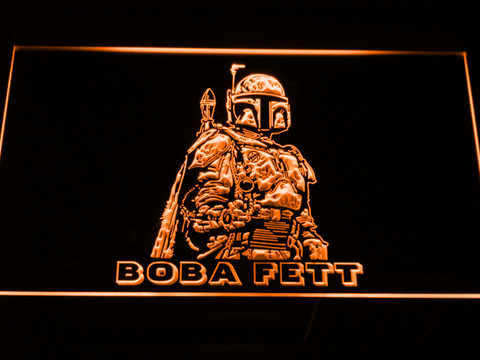 Image of Star Wars Boba Fett LED Neon Sign - Orange - SafeSpecial