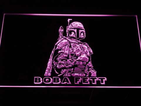 Image of Star Wars Boba Fett LED Neon Sign - Purple - SafeSpecial