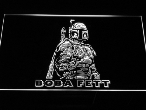 Image of Star Wars Boba Fett LED Neon Sign - White - SafeSpecial
