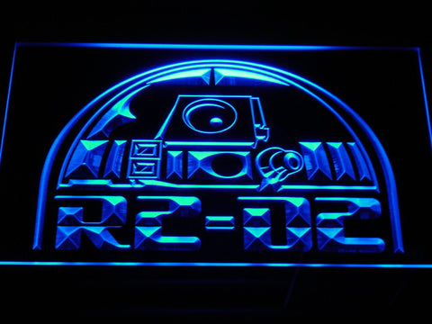 Image of Star Wars R2-D2 Head LED Neon Sign - Blue - SafeSpecial