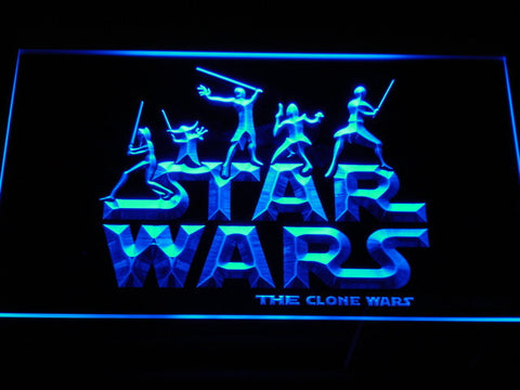 Image of Star Wars The Clone Wars Silhouettes LED Neon Sign - Blue - SafeSpecial
