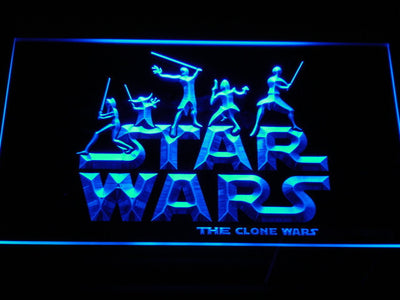 Star Wars The Clone Wars Silhouettes LED Neon Sign - Blue - SafeSpecial
