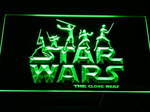 Image of Star Wars The Clone Wars Silhouettes LED Neon Sign - Green - SafeSpecial