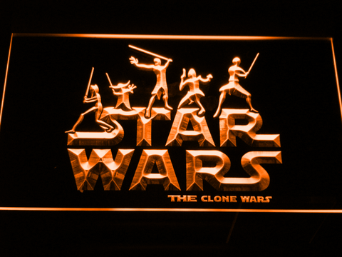 Image of Star Wars The Clone Wars Silhouettes LED Neon Sign - Orange - SafeSpecial