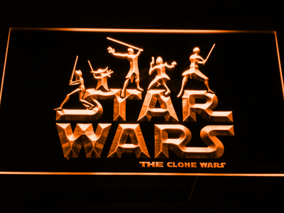 Star Wars The Clone Wars Silhouettes LED Neon Sign - Orange - SafeSpecial