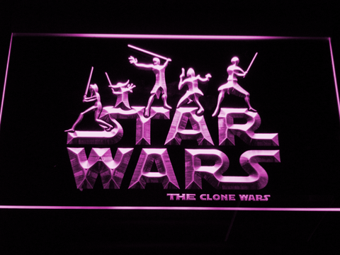 Image of Star Wars The Clone Wars Silhouettes LED Neon Sign - Purple - SafeSpecial