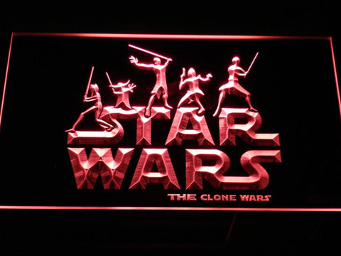 Image of Star Wars The Clone Wars Silhouettes LED Neon Sign - Red - SafeSpecial