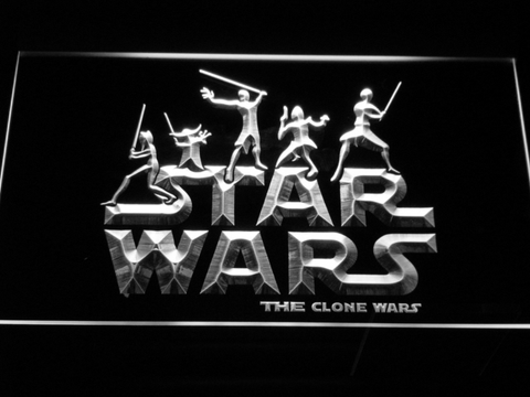 Image of Star Wars The Clone Wars Silhouettes LED Neon Sign - White - SafeSpecial