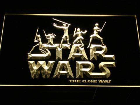 Image of Star Wars The Clone Wars Silhouettes LED Neon Sign - Yellow - SafeSpecial