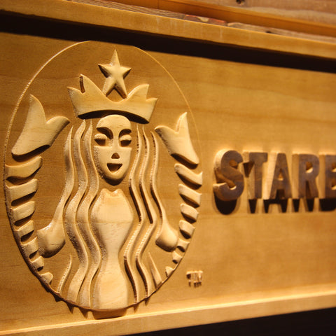 Starbucks Wooden Sign - - SafeSpecial