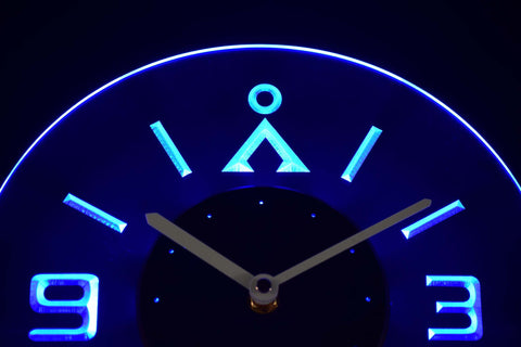 Image of Stargate Earth Glyph Modern LED Neon Wall Clock - Blue - SafeSpecial