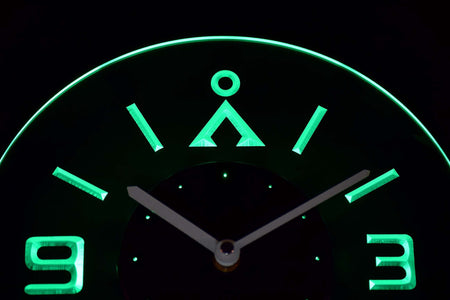Stargate Earth Glyph Modern LED Neon Wall Clock - Green - SafeSpecial