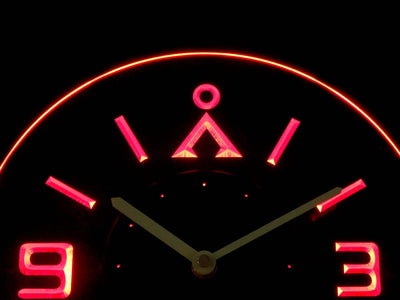 Stargate Earth Glyph Modern LED Neon Wall Clock - Red - SafeSpecial