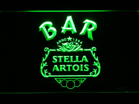 Image of Stella Artois Crest Bar LED Neon Sign - Green - SafeSpecial