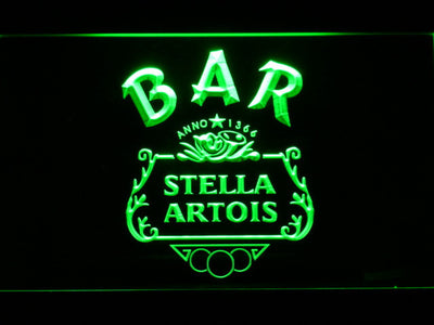 Stella Artois Crest Bar LED Neon Sign - Green - SafeSpecial