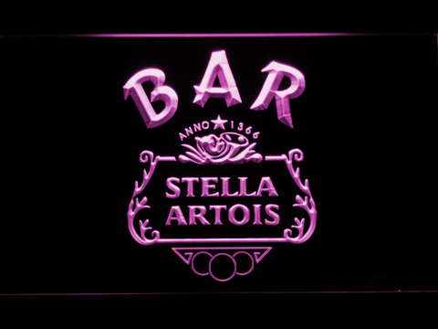 Image of Stella Artois Crest Bar LED Neon Sign - Purple - SafeSpecial