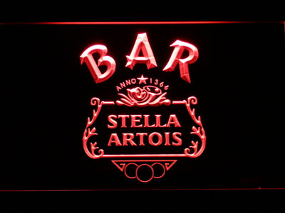 Stella Artois Crest Bar LED Neon Sign - Red - SafeSpecial