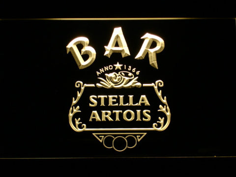 Image of Stella Artois Crest Bar LED Neon Sign - Yellow - SafeSpecial