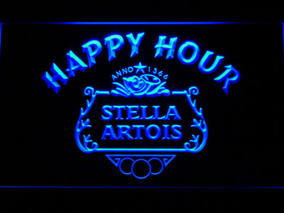 Stella Artois Crest Happy Hour LED Neon Sign - Blue - SafeSpecial
