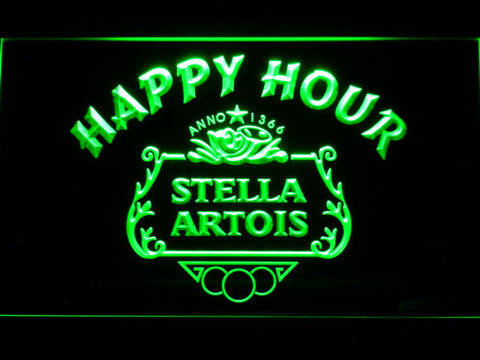 Image of Stella Artois Crest Happy Hour LED Neon Sign - Green - SafeSpecial