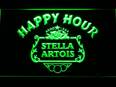 Stella Artois Crest Happy Hour LED Neon Sign - Green - SafeSpecial