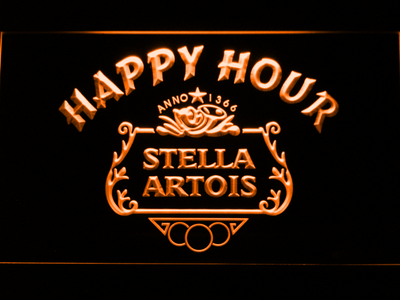 Stella Artois Crest Happy Hour LED Neon Sign - Orange - SafeSpecial