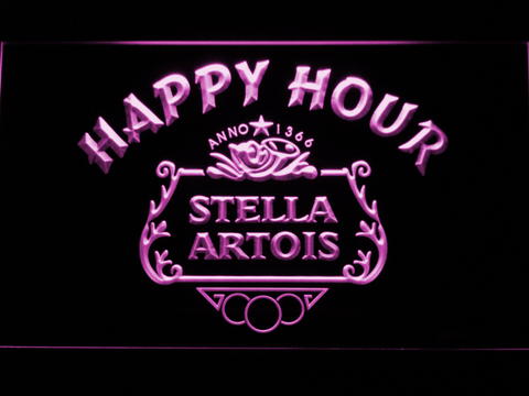 Image of Stella Artois Crest Happy Hour LED Neon Sign - Purple - SafeSpecial