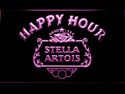 Stella Artois Crest Happy Hour LED Neon Sign - Purple - SafeSpecial
