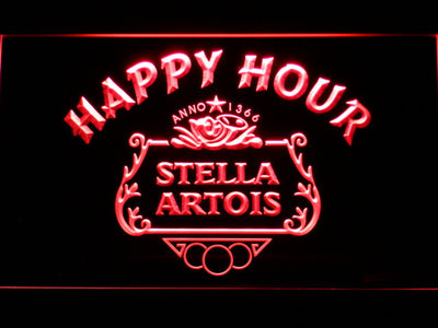 Stella Artois Crest Happy Hour LED Neon Sign - Red - SafeSpecial