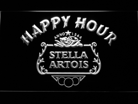 Image of Stella Artois Crest Happy Hour LED Neon Sign - White - SafeSpecial