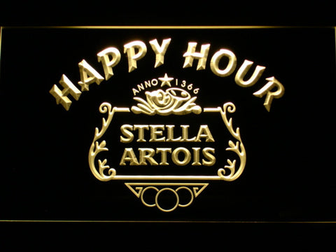 Image of Stella Artois Crest Happy Hour LED Neon Sign - Yellow - SafeSpecial
