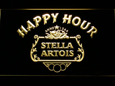 Stella Artois Crest Happy Hour LED Neon Sign - Yellow - SafeSpecial