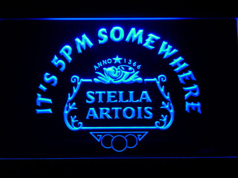 Stella Artois Crest It's 5pm Somewhere LED Neon Sign - Blue - SafeSpecial