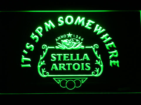 Stella Artois Crest It's 5pm Somewhere LED Neon Sign - Green - SafeSpecial