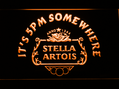 Stella Artois Crest It's 5pm Somewhere LED Neon Sign - Orange - SafeSpecial