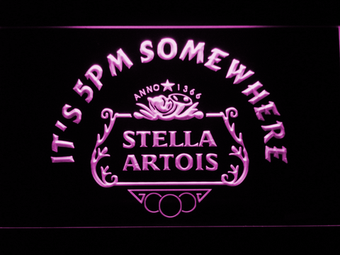 Stella Artois Crest It's 5pm Somewhere LED Neon Sign - Purple - SafeSpecial